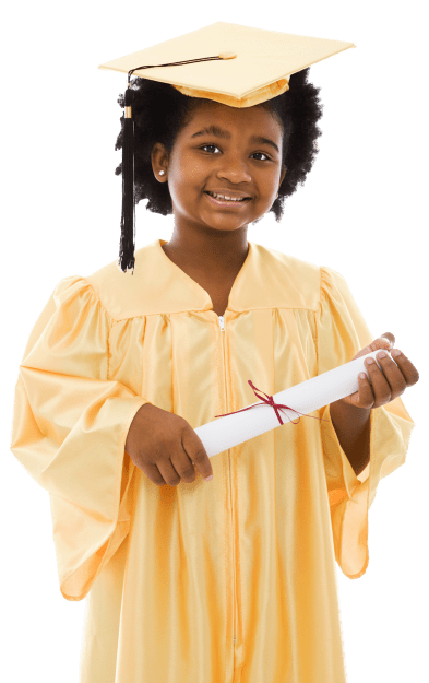 little girl dressed in graduation gown